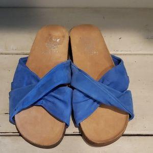 Vince camuto blue suede slides